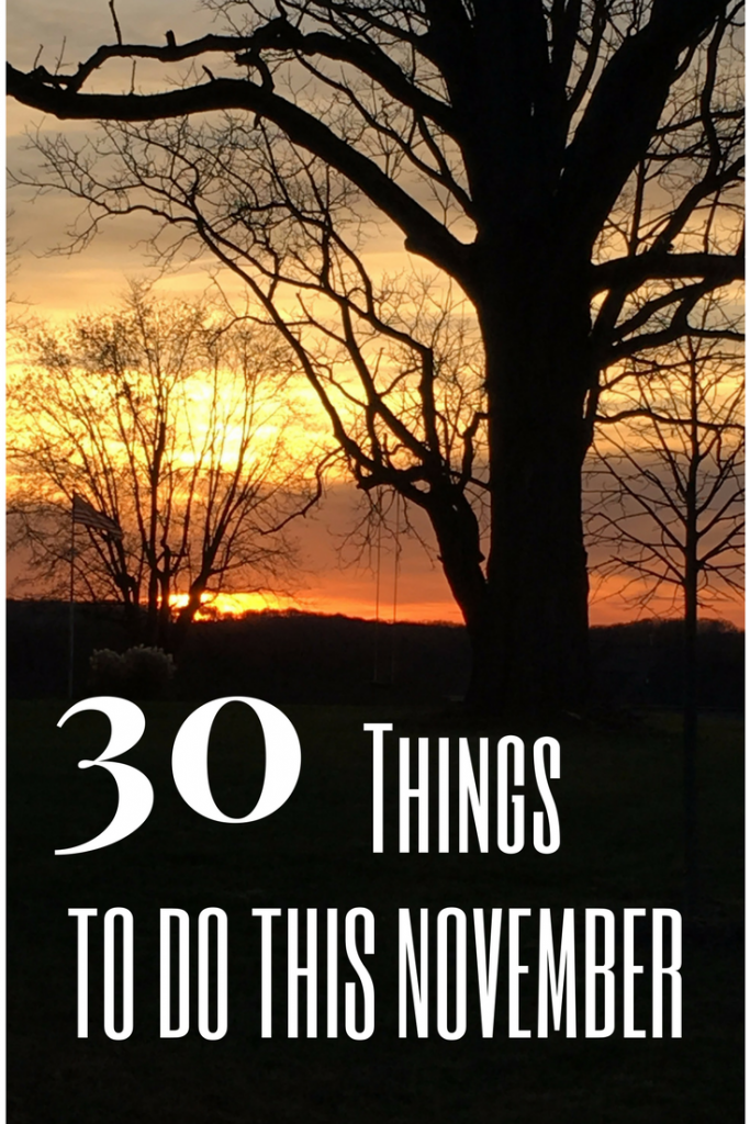 A list of 30 things that you can do this November!