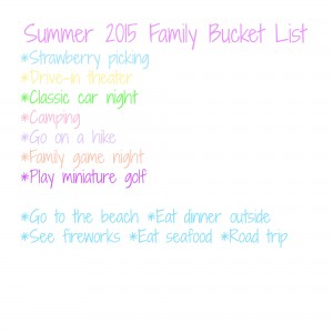 2015 Summer Family Bucket List