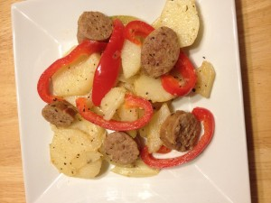 Creamer Potatoes with Sausage and Peppers