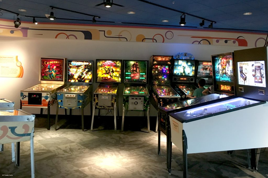 A whole room of pinball machines at the Strong Museum. For a couple of bucks you can get a ton of tokens and play almost all the pinball machines.
