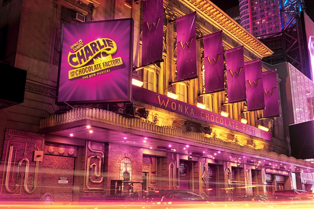 the Lunt-Fontanne Theatre, current home of Charlie and the Chocolate Factory.
