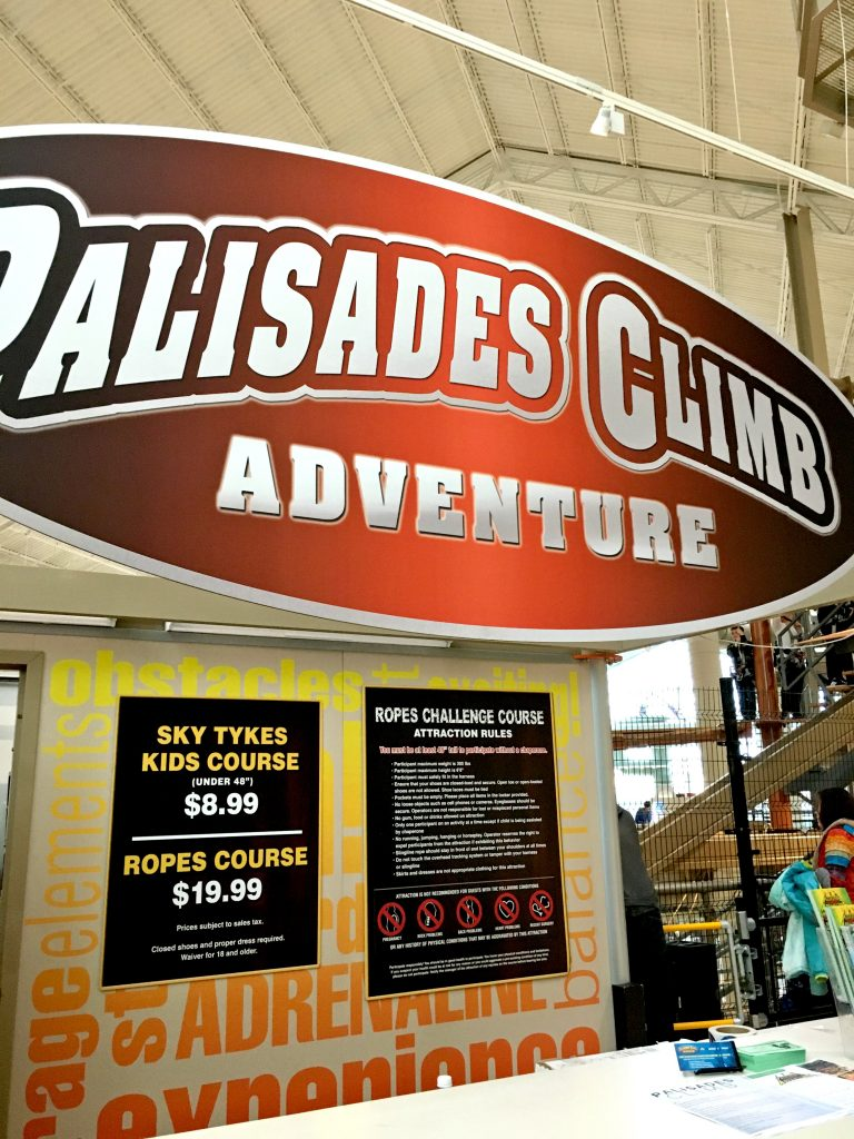 Located on the 4th floor of the Palisades Center, Palisades Climb Adventure is a fun indoor family activity.