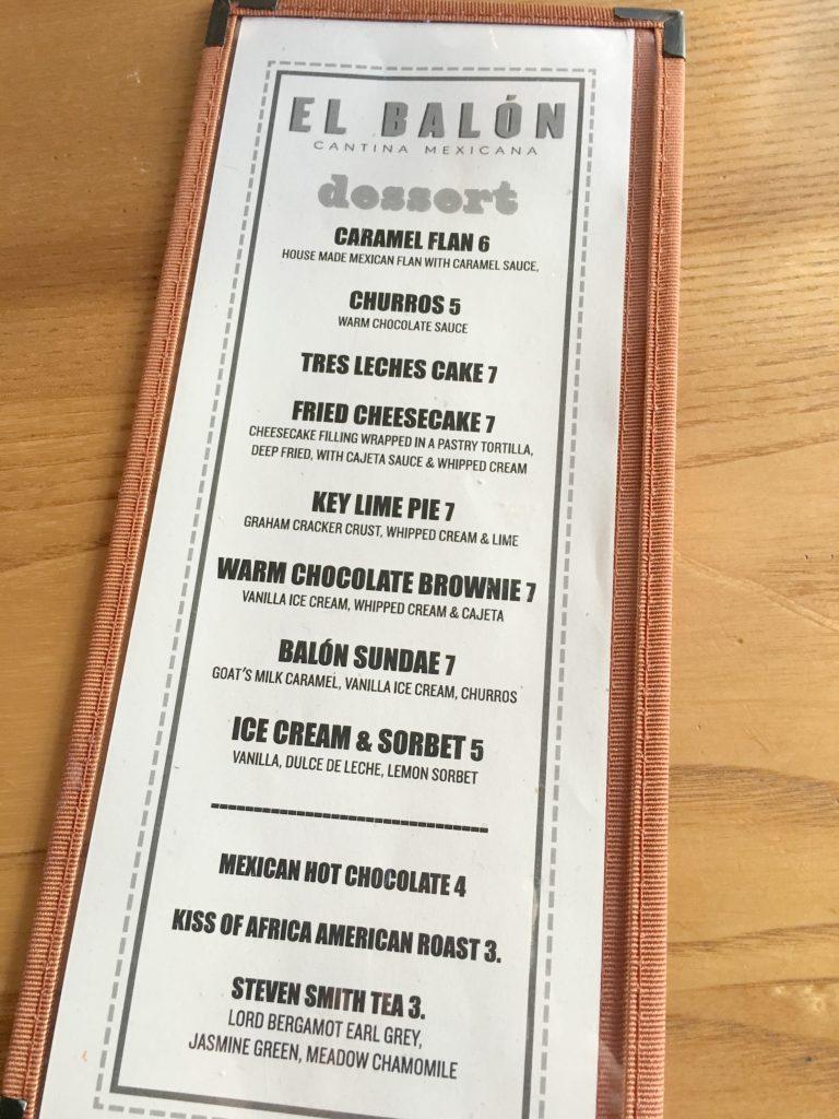 El Balon offers a variety of tasty desserts!